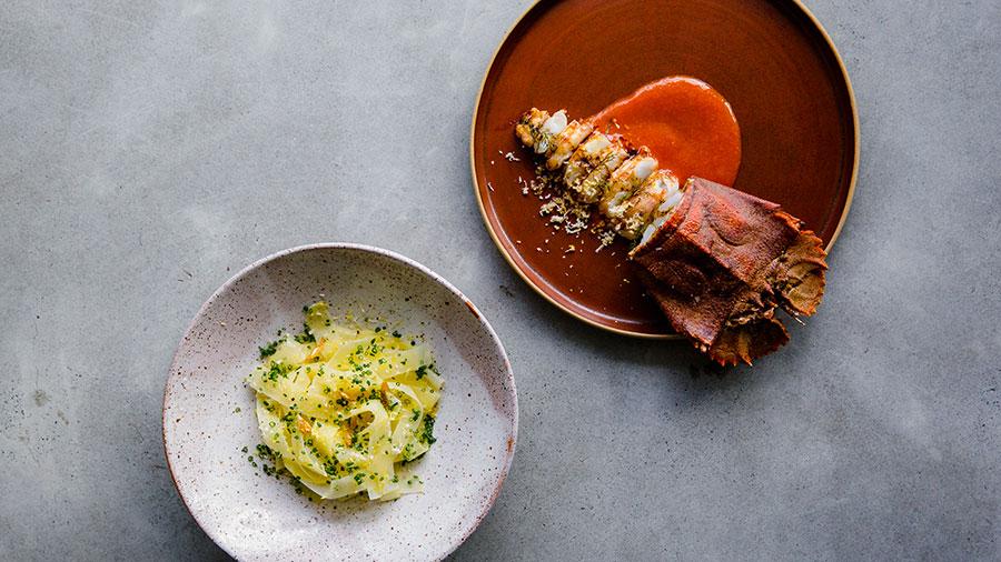 Glazed bay lobster with potato noodles, lemon and garlic. Credit: Sabine Bannard