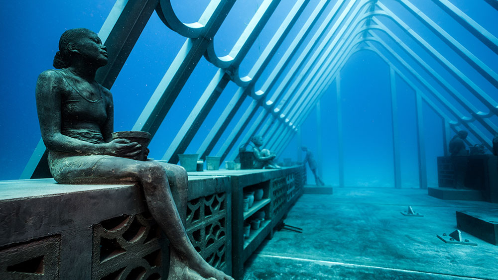 The new Museum of Underwater Art. Credit: Jason deCaires-Taylor