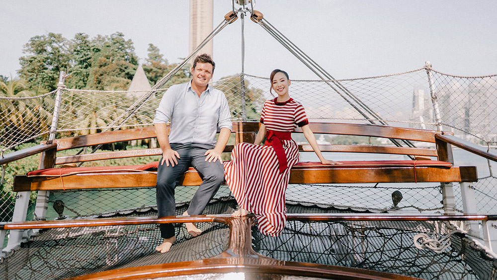 Wade Pearce and Xie aboard The Royal Albatross. Credit; Supplied