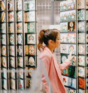Fiona Xie exploring the Peranakan Tiles Gallery. Credit: Supplied