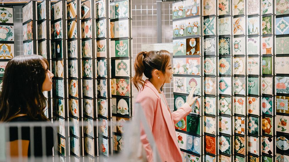 Fiona Xie exploring the Peranakan Tiles Gallery. Credit: Supplied