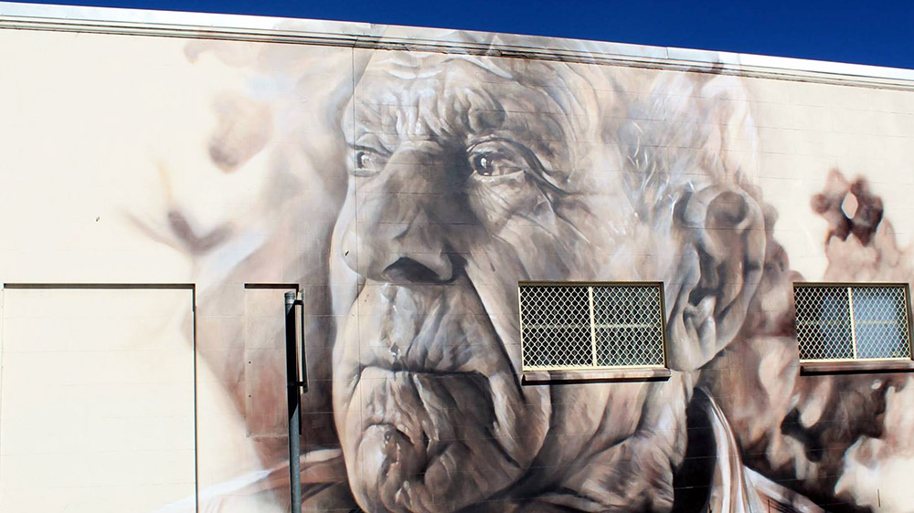 A mural of Angelo Valiante, by Guido van Helten. Supplied