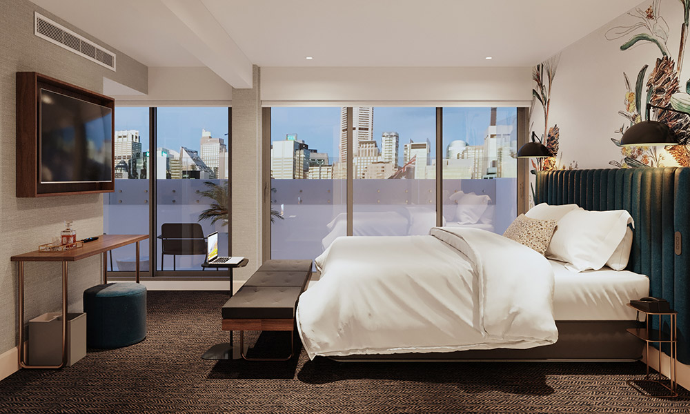 A guest room at Aiden Darling Harbour. Supplied.