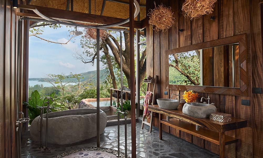 Bathroom of a Bird's Nest Villa at Keemala, Thailand. Credit: