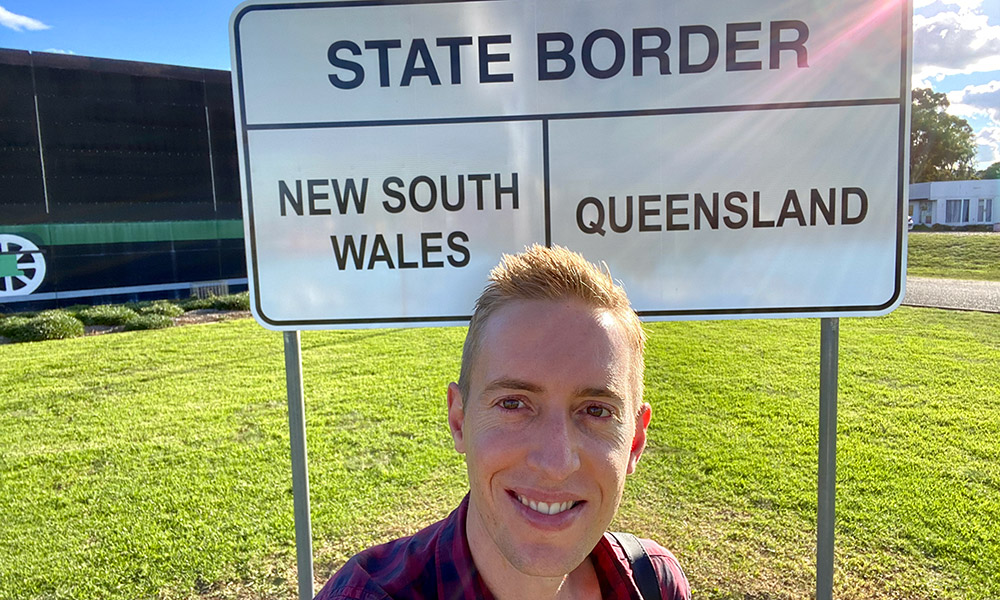 A selfie at the QLD/NSW state border. Credit: Chris Ashton