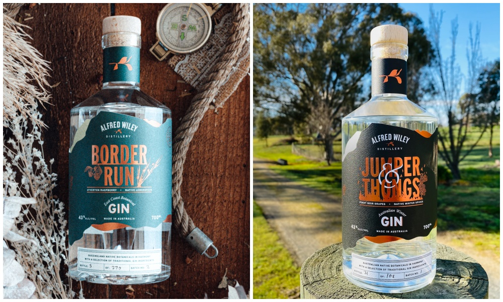 Alfred Wiley Distilery's Border Run and Jumpers and Thongs gin. Supplied.