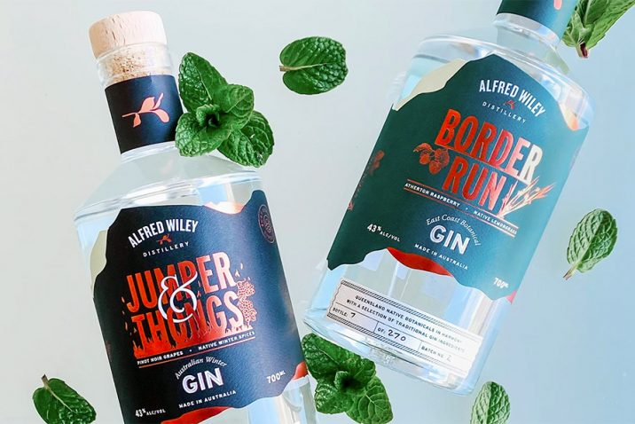 Alfred Wiley Distillery Jumper & Thongs and Border Run gin. Credit: Supplied.