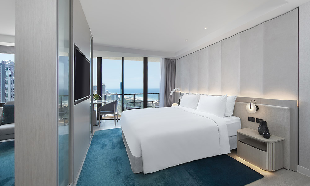 A glamorous Junior Suite at the JW Marriott Resort Surfers Paradise. Supplied.