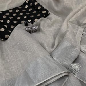 Silver Linen - Grey Coloured Linen Saree Catalogues