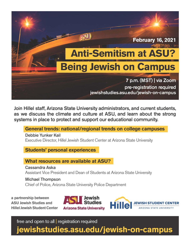 Anti-Semitism at ASU? Being Jewish on Campus @ Zoom
