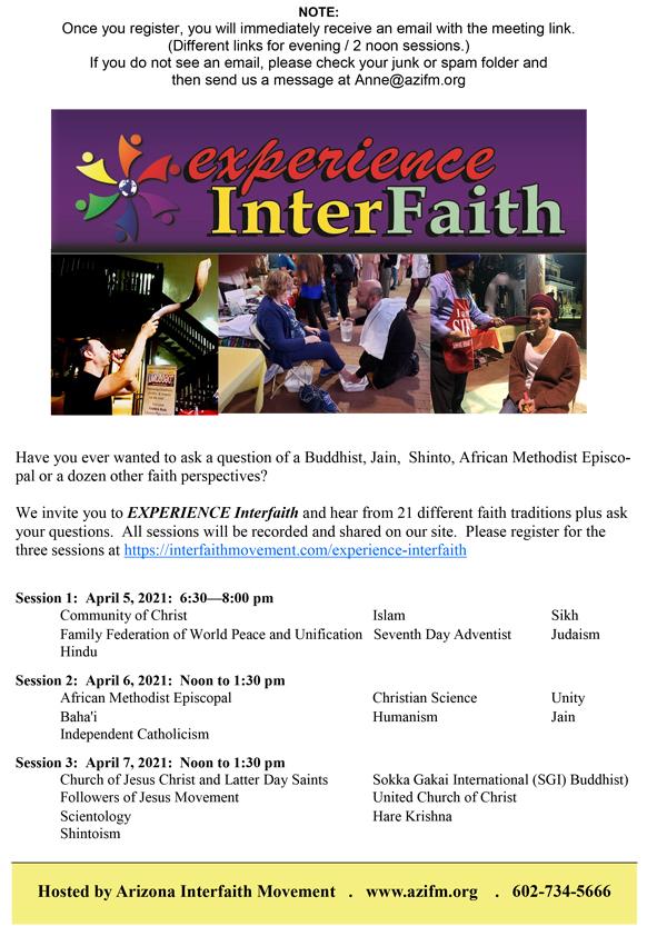 Experience Interfaith @ Zoom