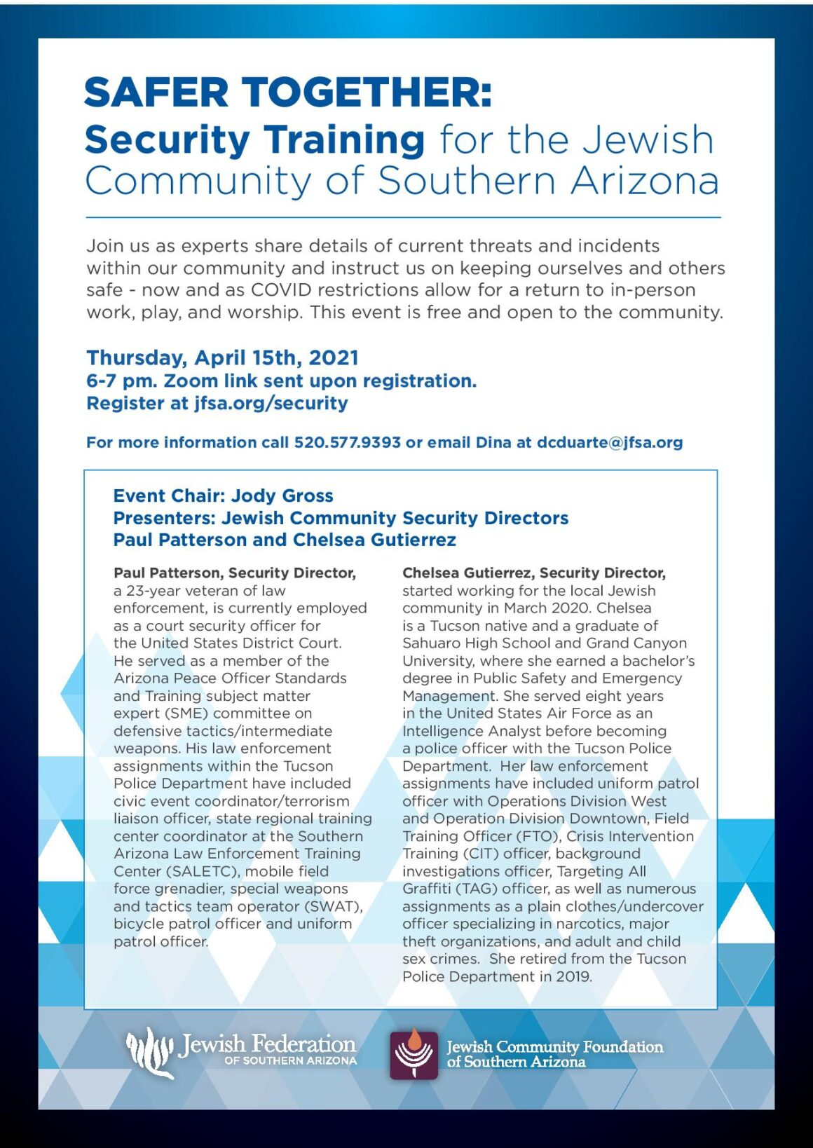 Safer Together: Security Training for the Jewish Community of Southern AZ @ Zoom