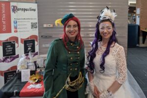 Close-Up of Megan Wynters and Irys Godeleva Masquerade Costume