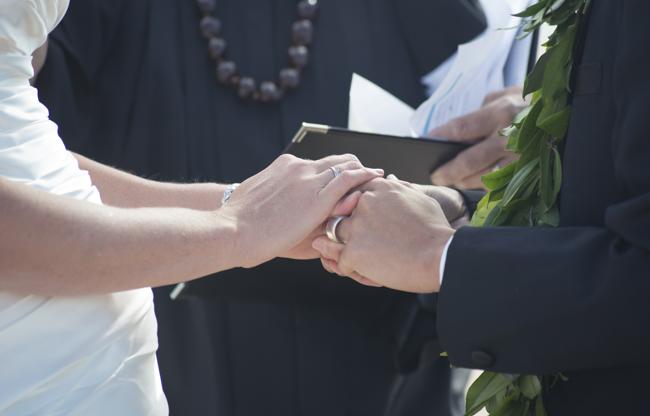 rings at beach wedding