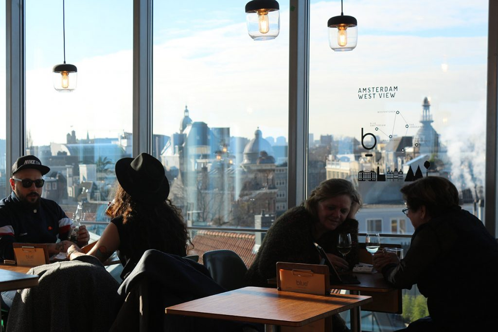 Blue Amsterdam - get great rooftop views from this cafe in the city center