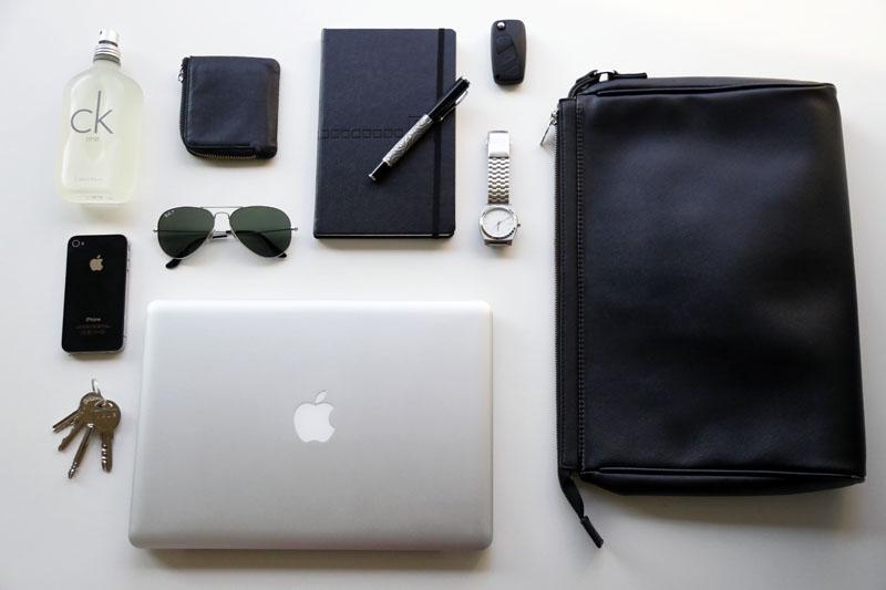 travel essentials, men's carry-on
