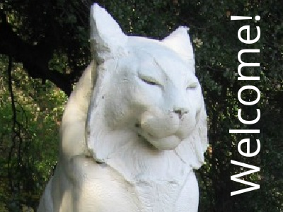 The iconic cats of Los Gatos (one shown) with the word WELCOME!