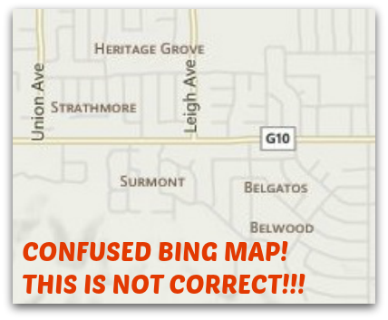 Bing Maps incorrect labeling of east Los Gatos neighborhoods