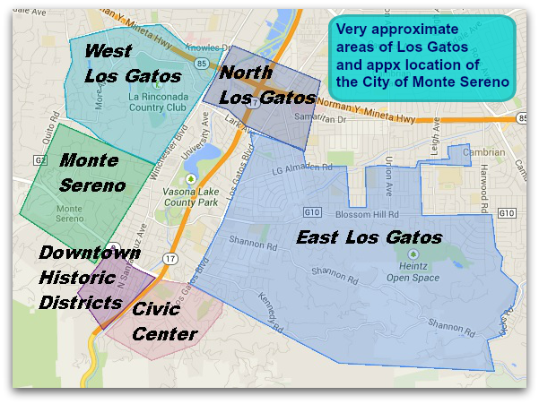 Regions of Los Gatos: East, West , North, Civic Center, Historic