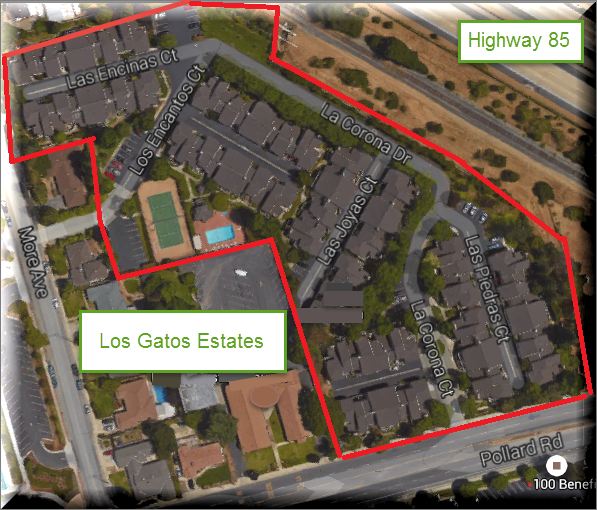 Los Gatos Estates - map of appx boundaries