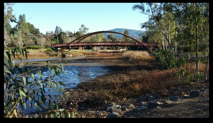 Bridge at Vasona Lake County Park, Los Gatos - with the hill called El Sombroso in the background.