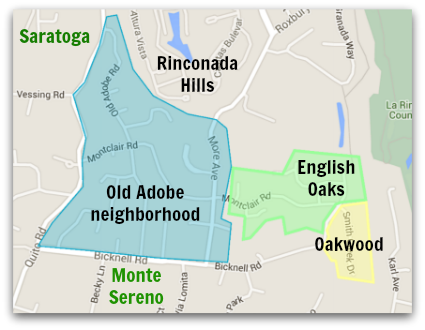 Map of the Old Adobe Road area in west Los Gatos - also indicating proximity of the Oakwood and English Oaks subdivisions, plus the cities of Saratoga and Monte Sereno are shown on the map