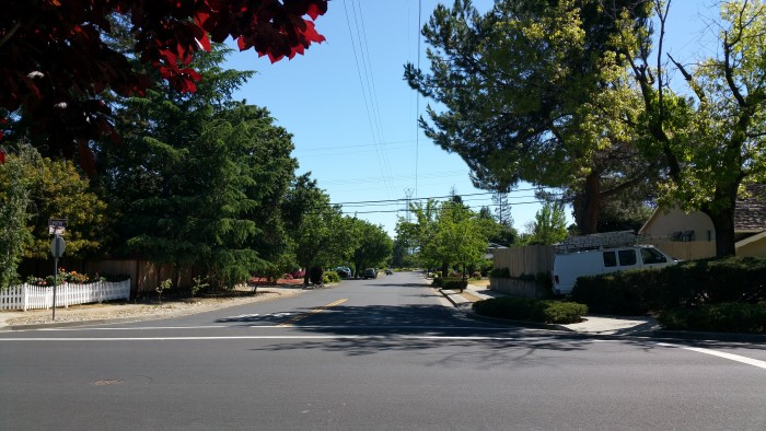 View down Blackwell by Lester in east Los Gatos near Live Oak Manor Park