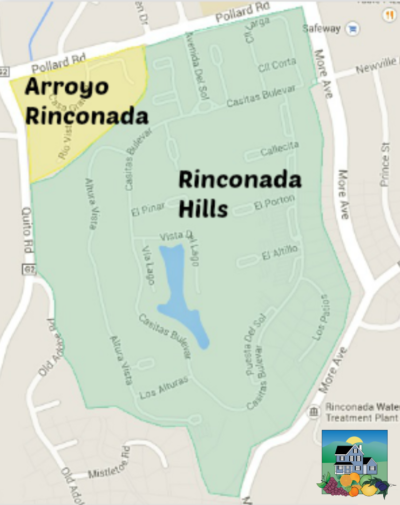 Map of Arroyo Rinconada and Rinconada Hills