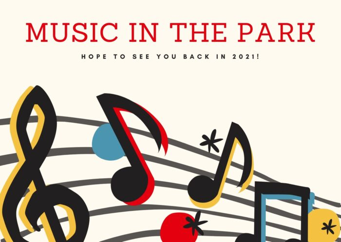 Music in the Park skipped in 2020 - hope to see you back in 2020 - musical notes