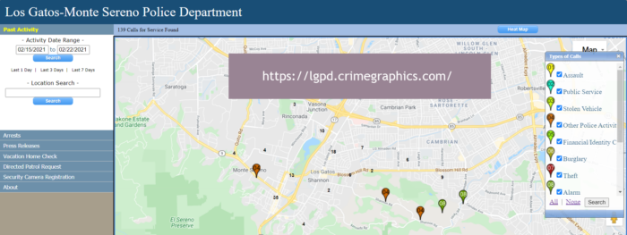 2021 Crime map for Los Gatos and Monte Sereno
