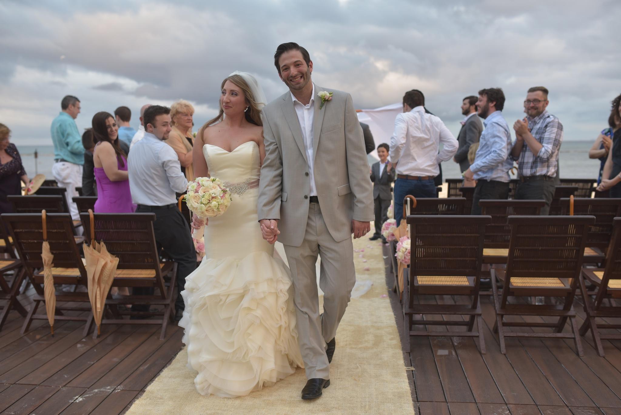 bride and groom at destination wedding ceremony