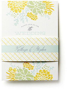 Add a belly band around your wedding invitation to keep all of the enclosures together and really be unique!