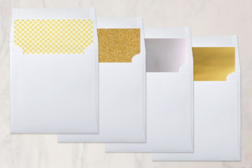 Take your wedding invitations to the next level by adding envelope liners in glitter!