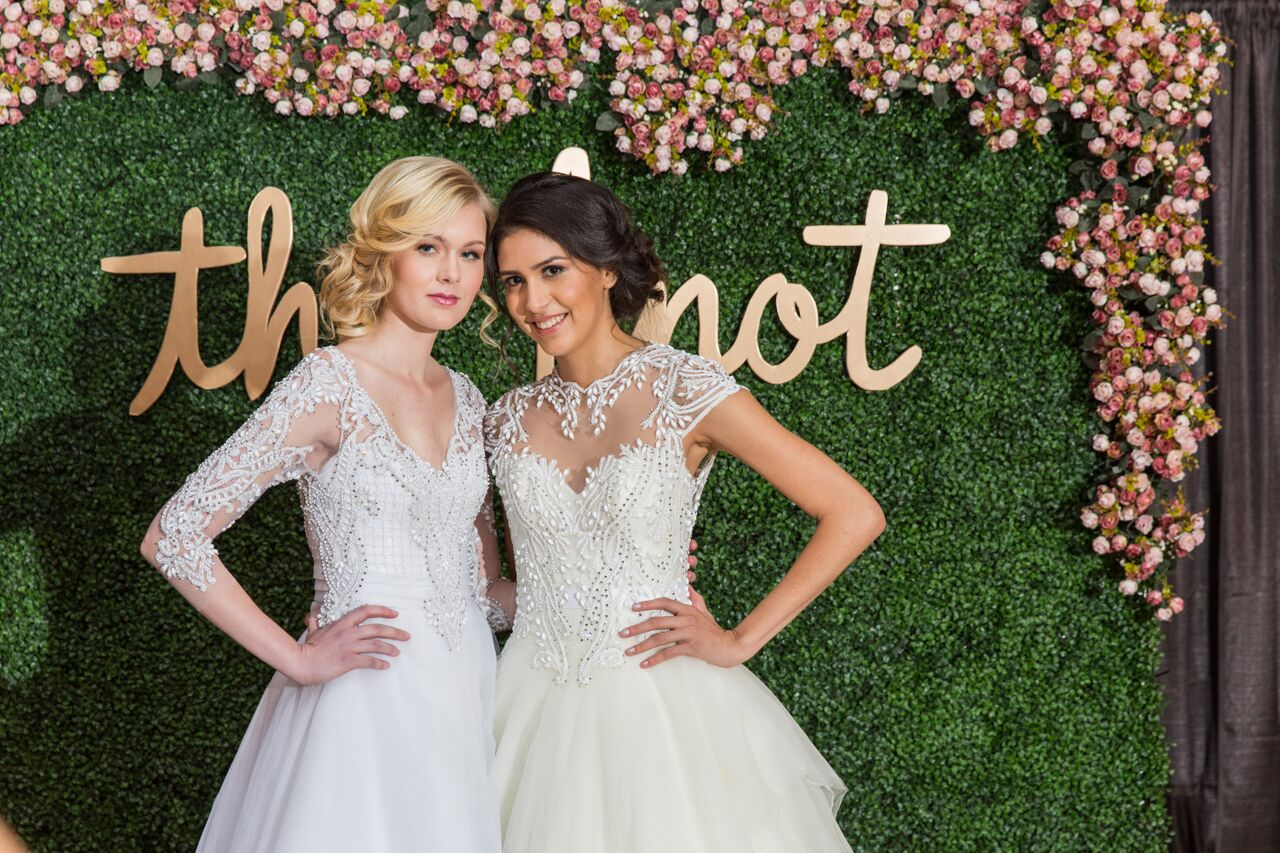 These gorgeous gowns were featured in the fashion show during The Knot Market Mixer that we designed in New Jersey. The beading and the detail are so amazing and perfect for that chic bride and glam wedding day!
