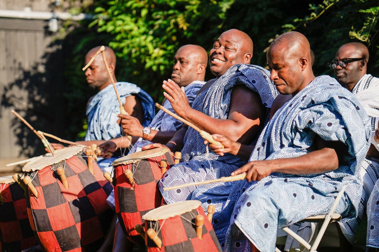 Music for this Ghanaian ceremony honored the heritage of the groom. Check out all of the details from this garden wedding we planned at Grounds for Sculpture!