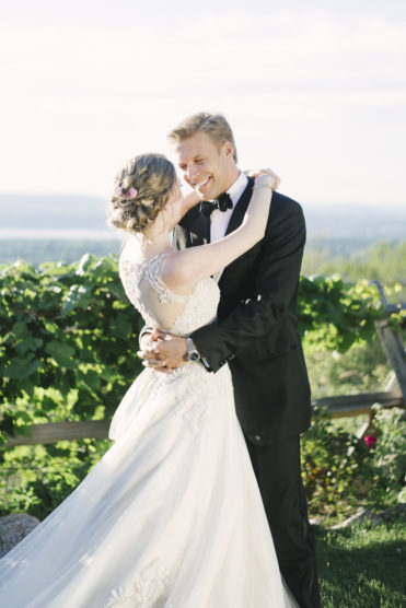 Bride and groom for an outdoor wedding ceremony