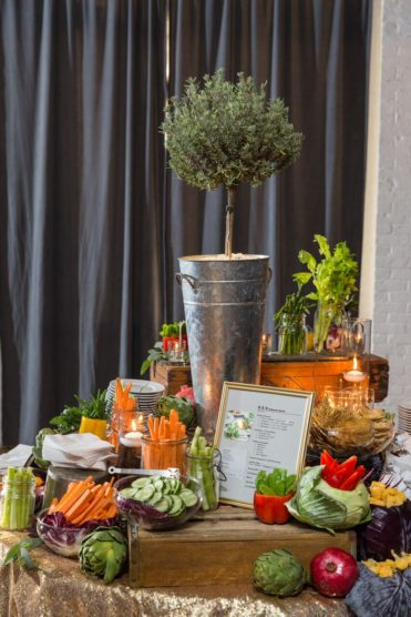 food display for a rehearsal dinner