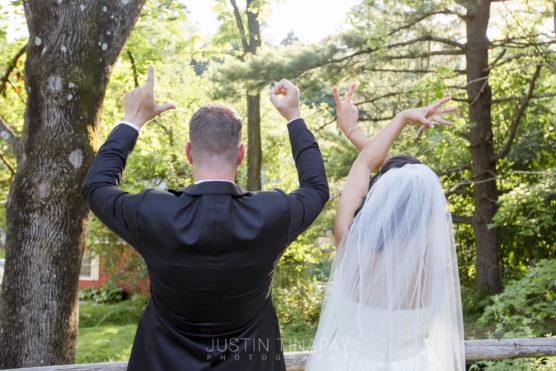 bride and groom spelling LOVE