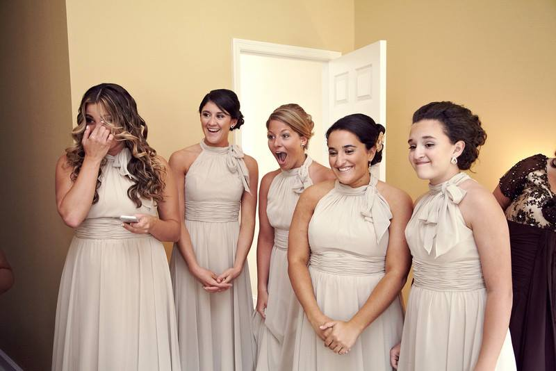 bridesmaids in champagne color dresses