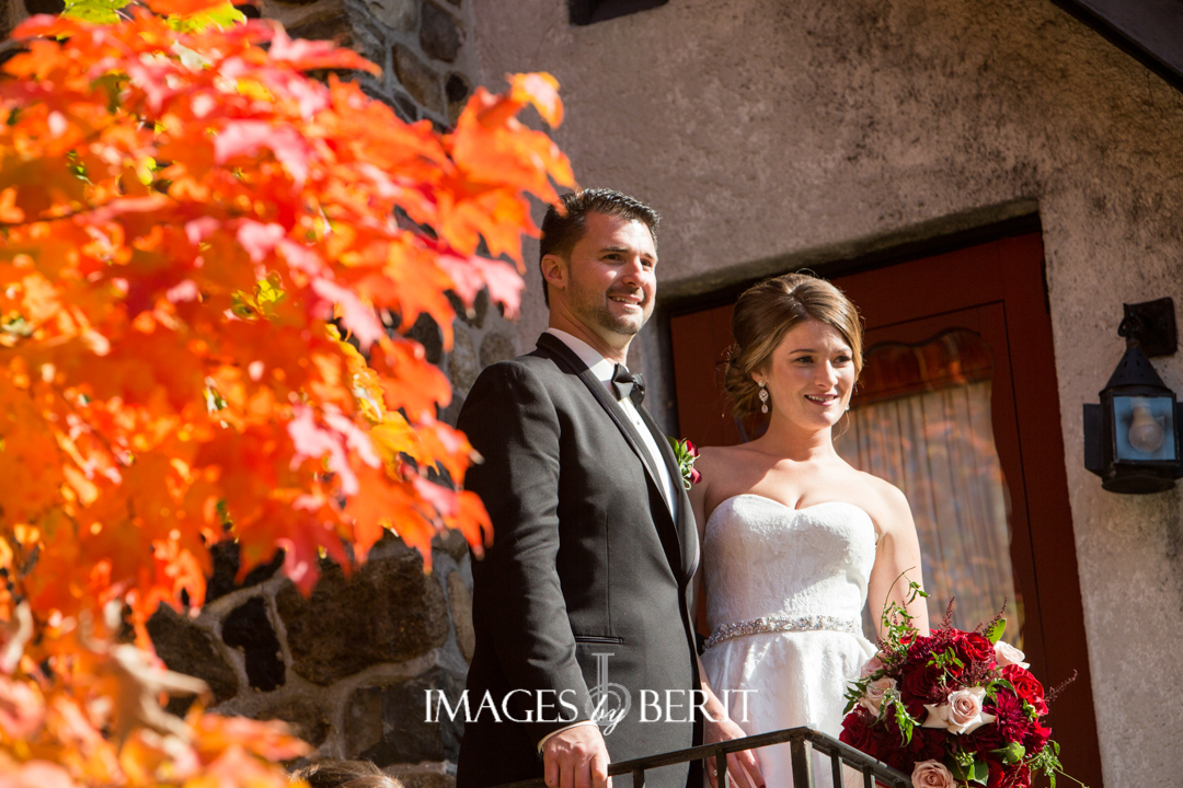 bride and groom fall wedding outdoors