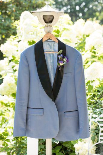 light blue tuxedo jacket with black lapel