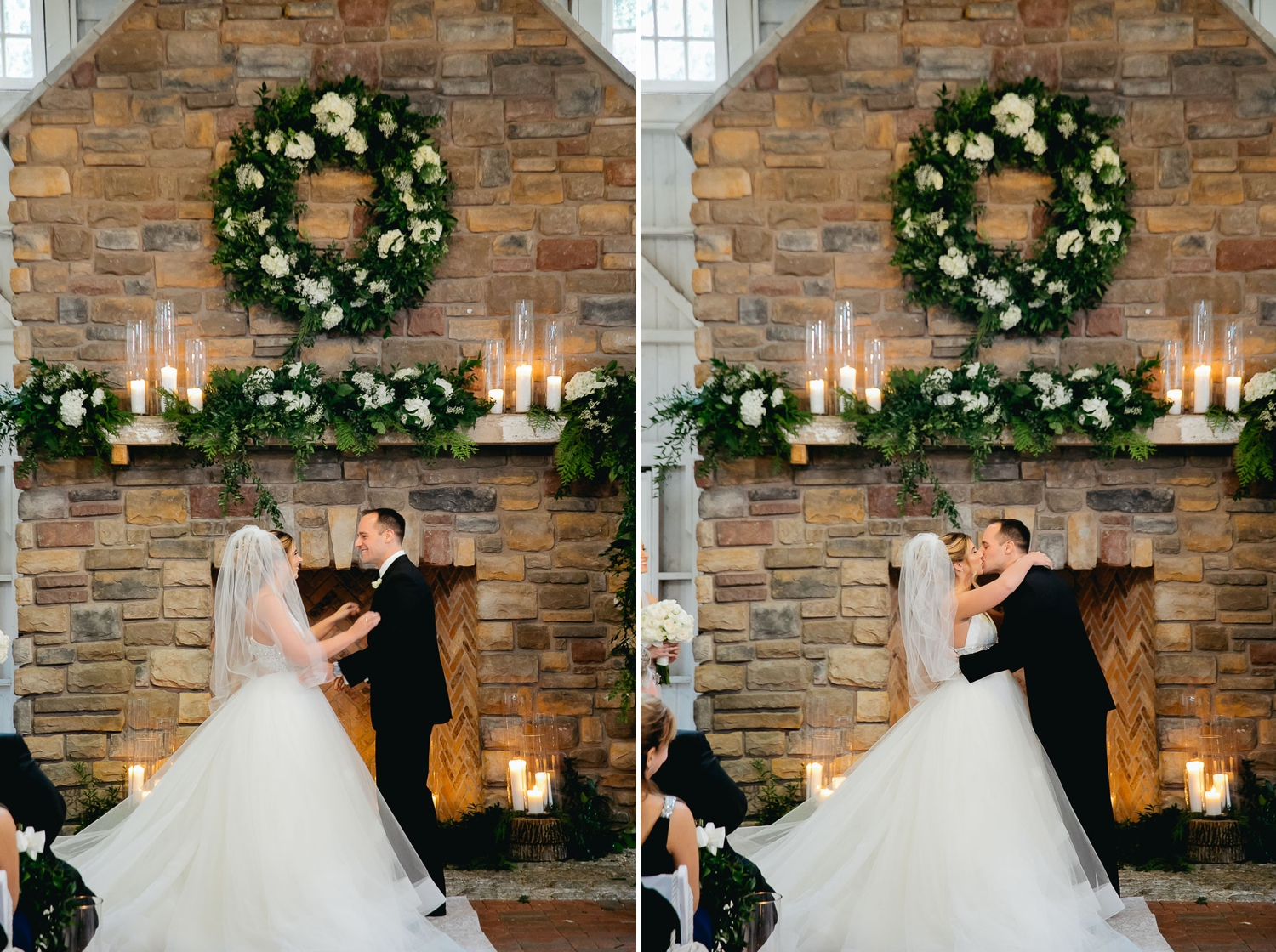 bride and groom at ceremony with greenery