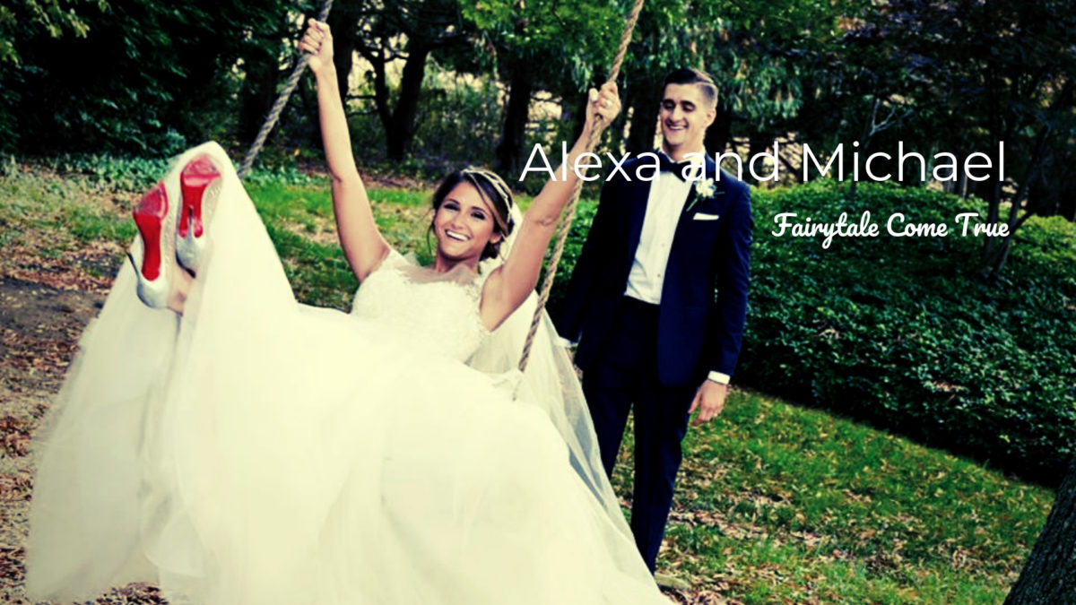 groom pushing bride on swing