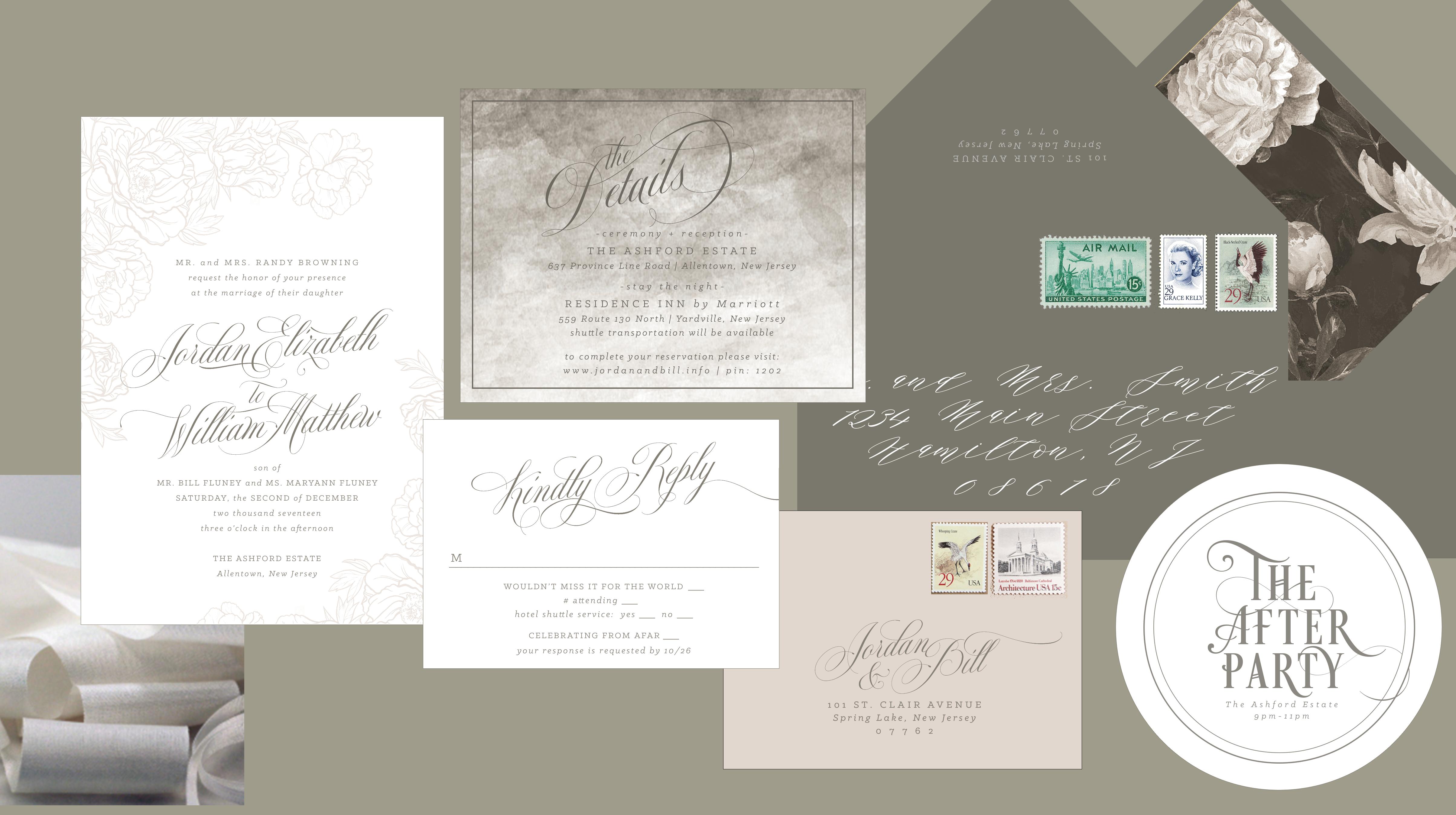 gray and white invitation suite