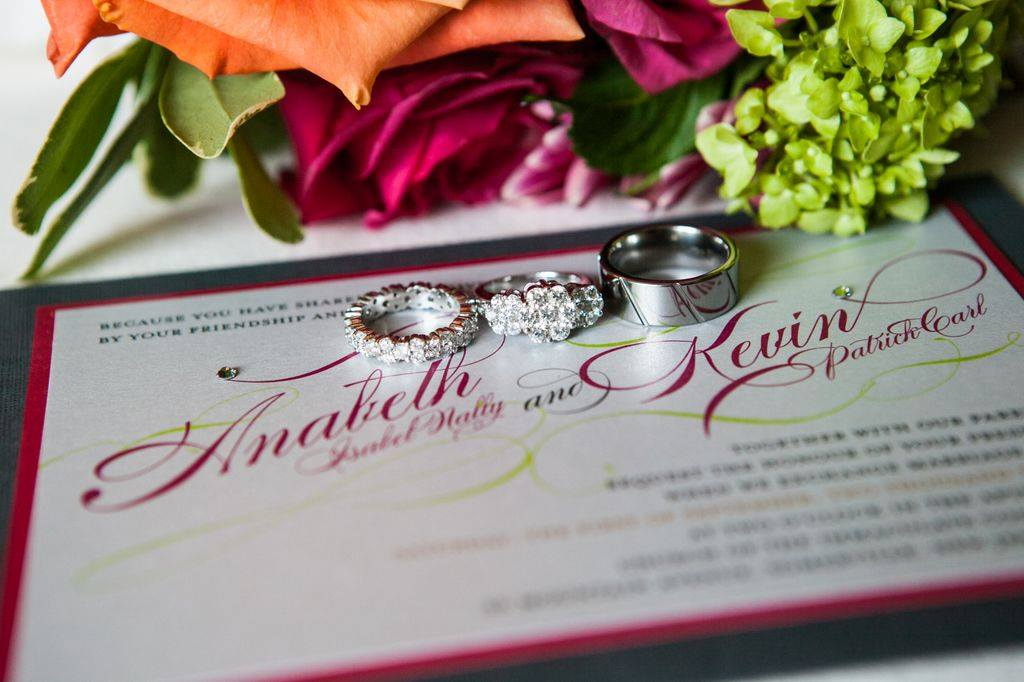 hot pink and silver wedding invite