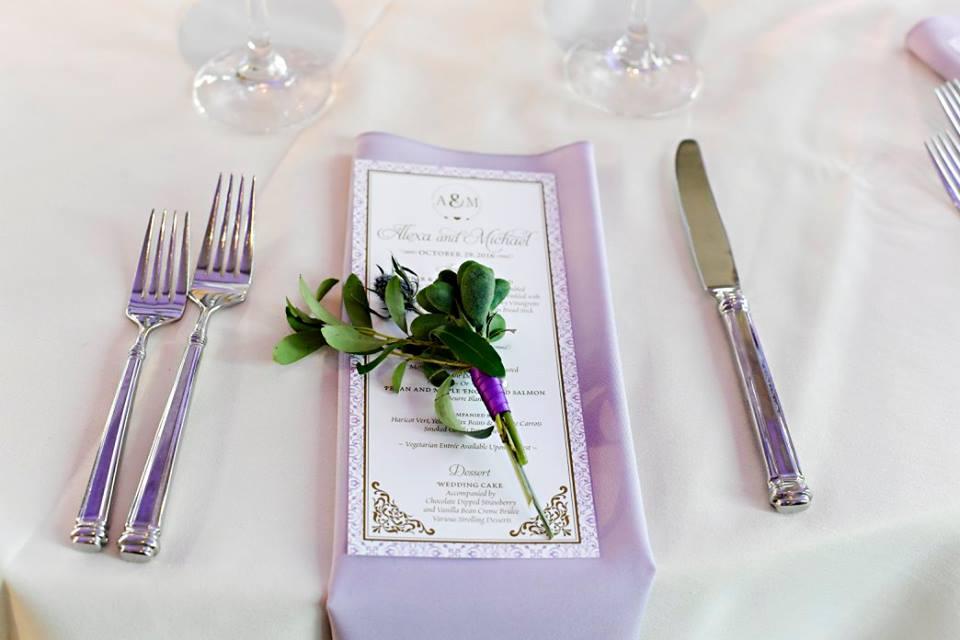 purple napkin with greenery