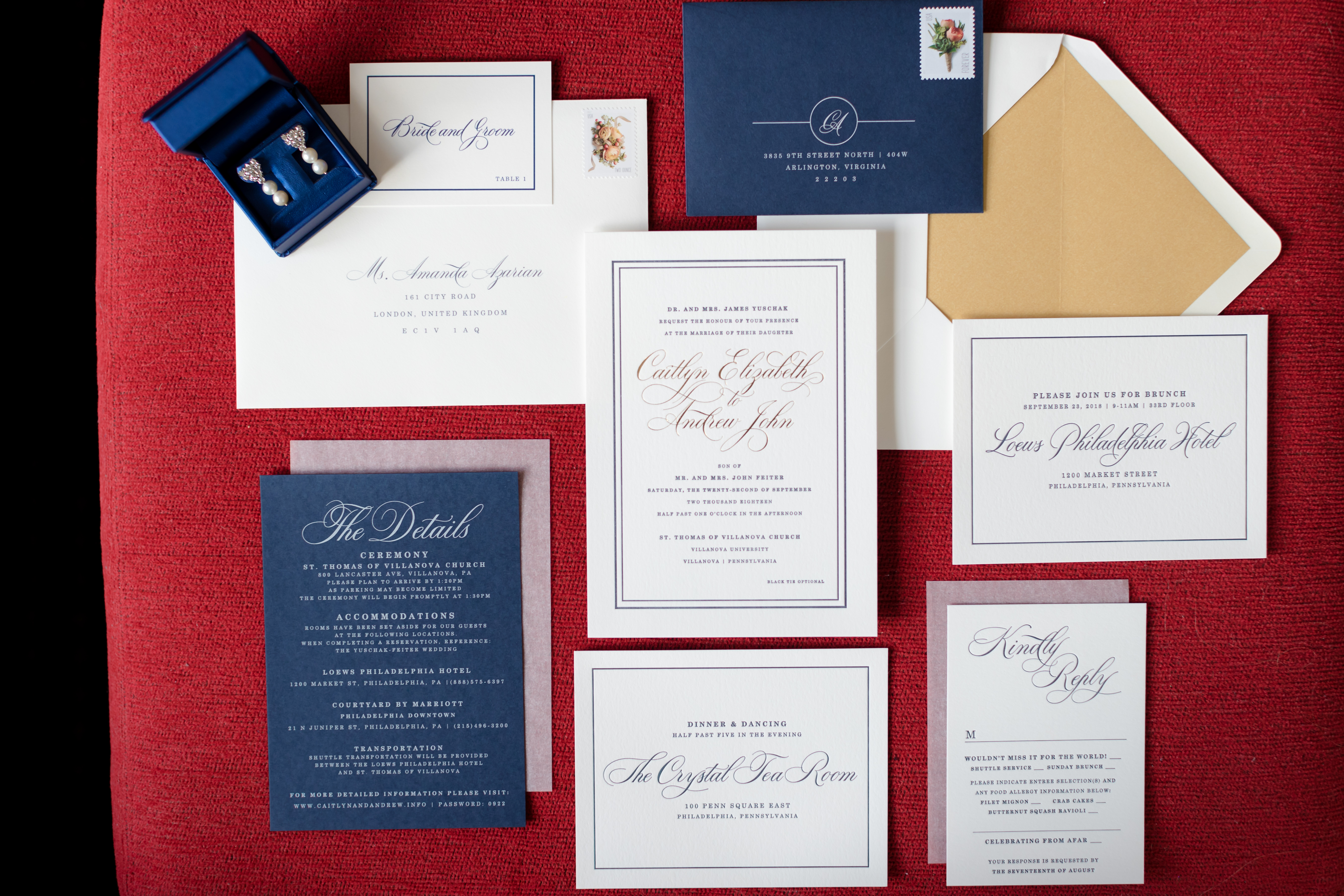 navy gold and white modern wedding invitation suite
