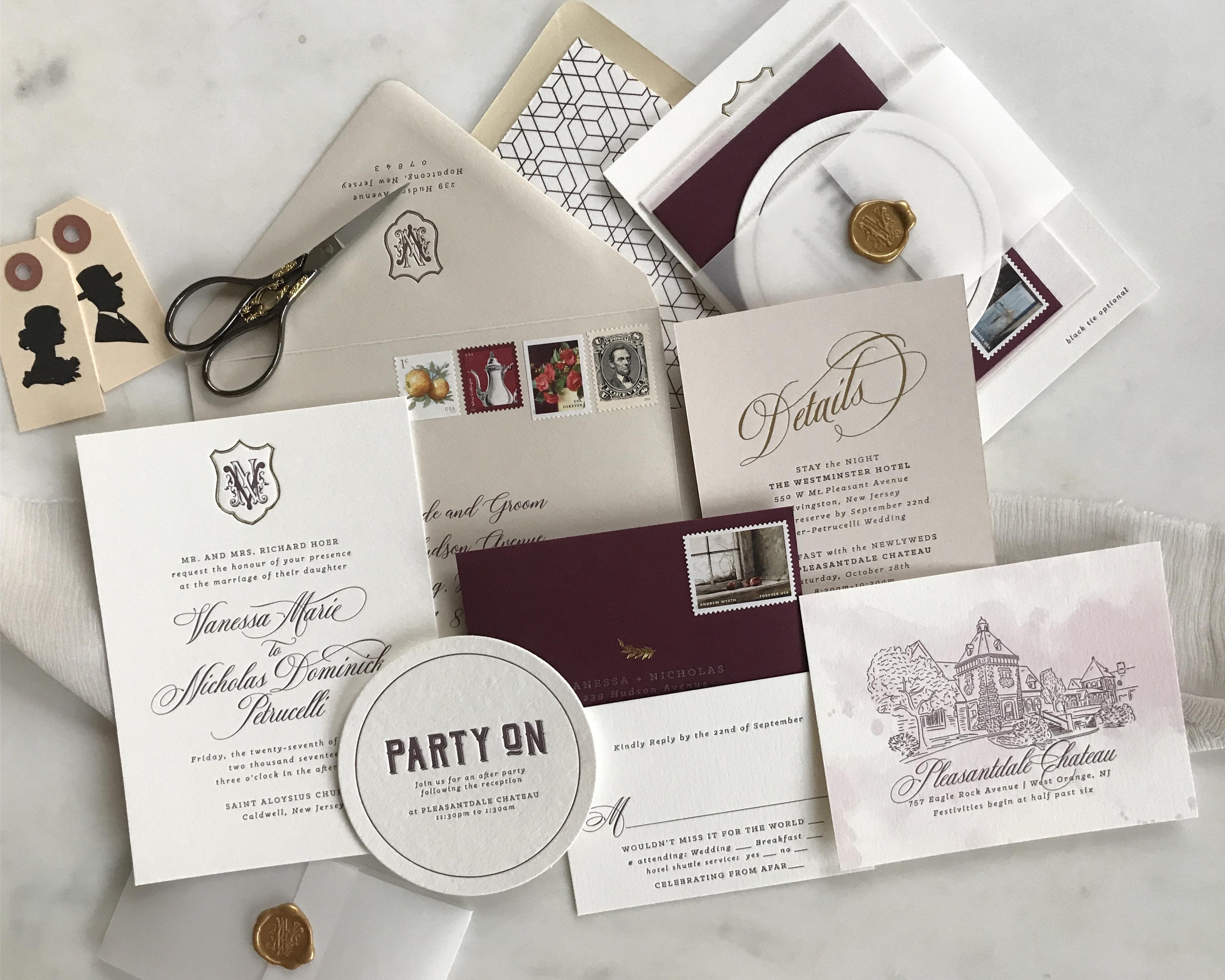 marsala invitation suite