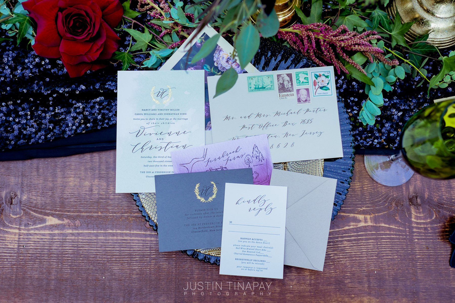 black pink and gold wedding invites