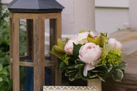 pink peony bouquet and chevron invitation
